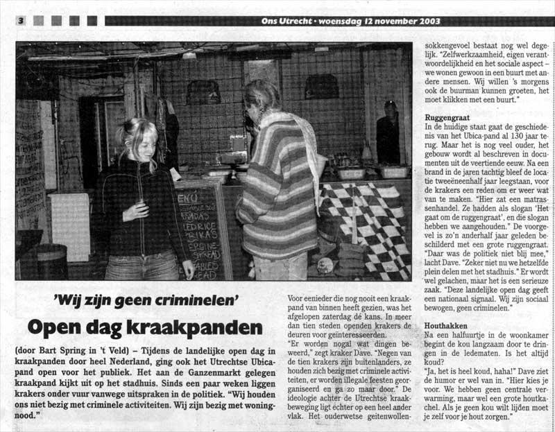 Artikel Ons Utrecht 12 November 2003